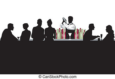 Cocktail bar with bartender