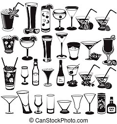 cocktail black collection of icons