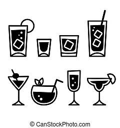 cocktail brille, ikone, satz