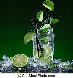cocktail, bryzgając, marznąć, ruch, owoc, świeży