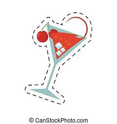 cocktail cherry alcohol ice straw dot line