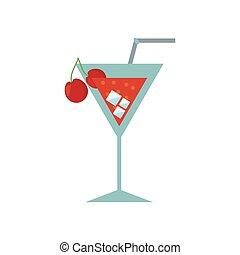 cocktail cherry alcohol ice straw