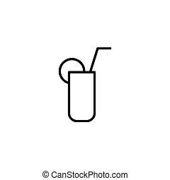 cocktail, cienki, tło, kreska, biały, ikona