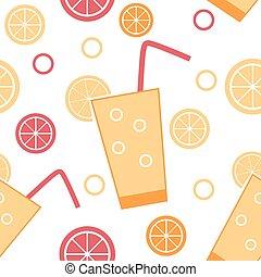 cocktail, citrus, modèle, seamless, illustration, vecteur, fond