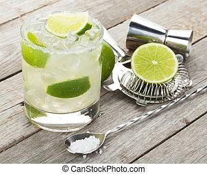 cocktail, classique, bois, bord, salé, table, margarita