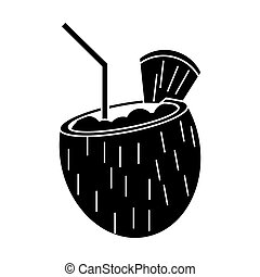 cocktail coconut fresh drink pictogram