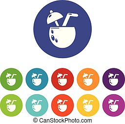 Cocktail coconut icons set vector color