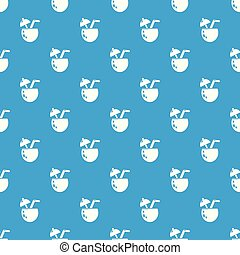 Cocktail coconut pattern vector seamless blue