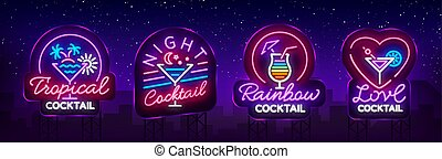 Cocktail collection logos in neon style. Collection of neon signs, Design template on the theme of drinks, alcoholic beverages. Bright advertising for cocktail bar, party, club. Vector. Billboard