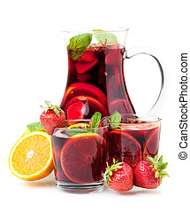 Cocktail collection - Refreshing fruit sangria in jug and two glasses. Isolated on white