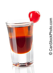 Cocktail collection: Two layered shot with maraschino