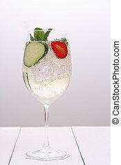 cocktail, concombre, verre, fraise, clair, vin