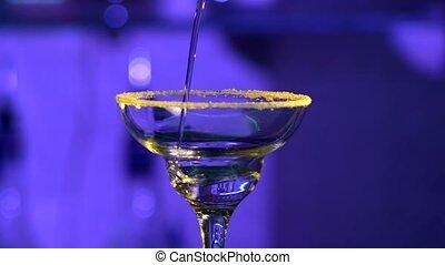 cocktail, confection, compteur, barre, bleu, barman
