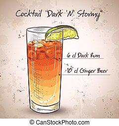 Cocktail Dark 'N' Stormy mixed drink with Dark rum, ginger...