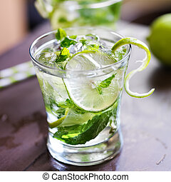 cocktail, -, deux, froid, mojitos