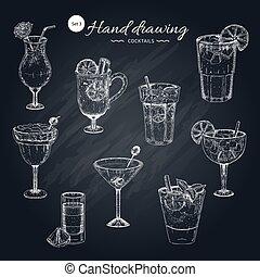cocktail, disegnato, collezione, mano