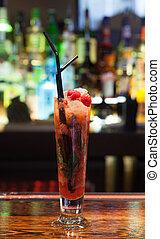 cocktail, do góry, ostrze, truskawki, zamknięcie, barwny