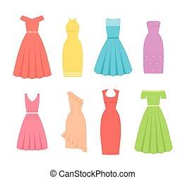 Cocktail dresses for women. Vector illustration. Female textile, flat design.