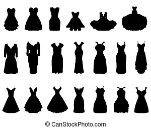 cocktail dresses - Black silhouettes of different cocktail...