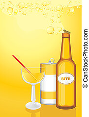 Cocktail, drink and beer bottle on the yellow background. ...