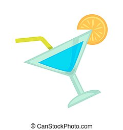 Cocktail drink for night club or disco party vector flat icon