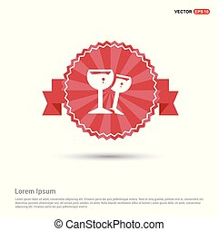 cocktail drink icon - Red Ribbon banner