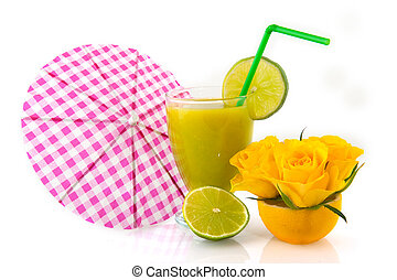 cocktail drink with fruit and flowers