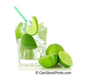 cocktail drink with lime like Caipirinha or mojito...