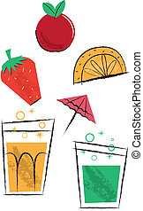 Cocktail Drinks and Fruit Children's Illustrations