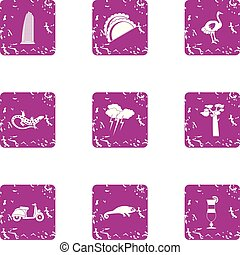 Cocktail evening icons set, grunge style