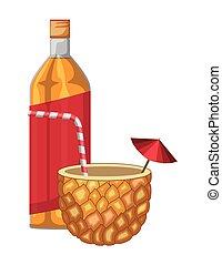 cocktail, flaska, ananas