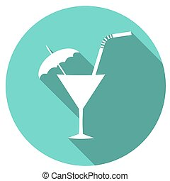 cocktail Flat Simple Icon with long shadow