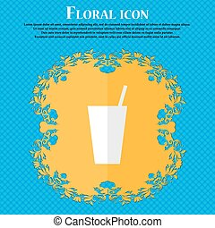 cocktail. Floral flat design on a blue abstract background with place for your text. Vector