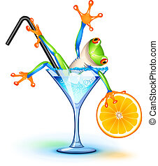 Tree frog in Blue Lagoon cocktail