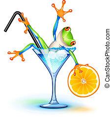 cocktail, frosch