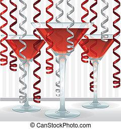 cocktail, geschenkband, karte