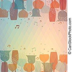 cocktail glas, bakgrund, musikalisk, färgrik