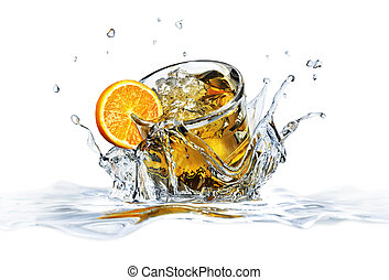Cocktail glass, falling into clear water, forming a crown splash. On white background, with depth of field.