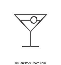 Cocktail glass line icon. - Cocktail glass thick line icon...