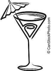 Cocktail Glass - Simple stylised illustration of a cocktail...