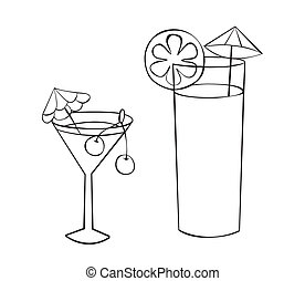 cocktail glass - Two glasses of drinks with umbrellas and...