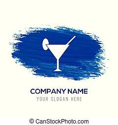 Cocktail glasses icon - Blue watercolor background