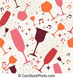 Cocktail glasses seamless pattern background