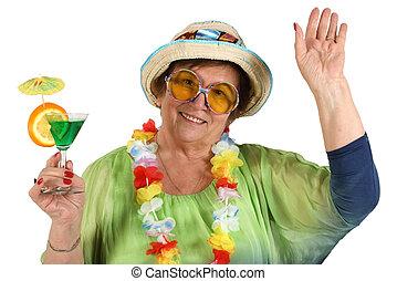 cocktail, hand, vrouw, oud, glas, vakantie