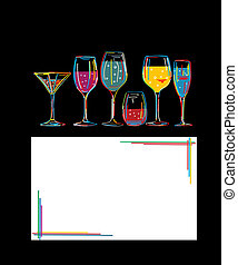 Cocktail hour - Background with set of colorful cocktail...