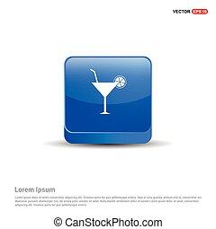 Cocktail Icon - 3d Blue Button