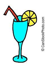 Cocktail Icon color hand drawnVector