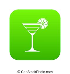 Cocktail icon digital green
