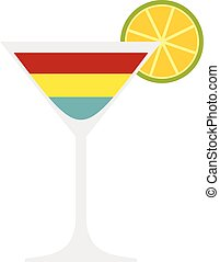 Cocktail icon, flat style