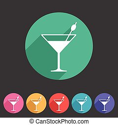 cocktail icon flat web sign symbol logo label